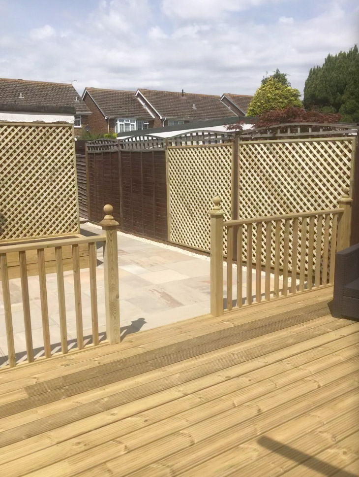Timber decking, trellis and patio work completed by Brookview Landscapes